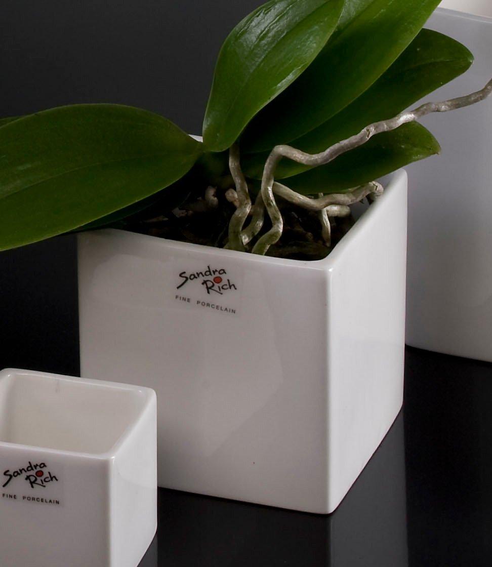 Porcelain flower pot Cube rectangular white 10,0 x 10,0 cm hoch Ø 10 cm by Sandra Rich
