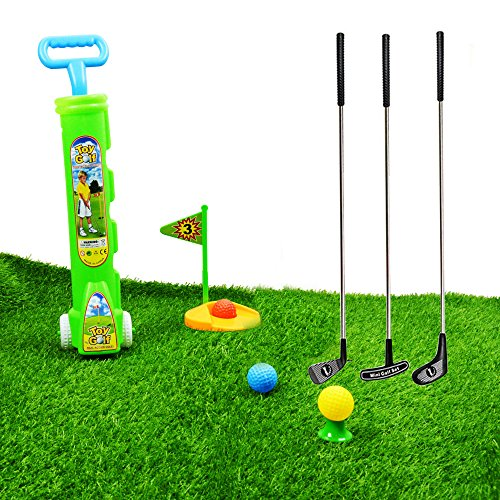 SOWOFA Kids' Golf Toys Sets Car for Kids Toddlers 3 Year Old with Metal Stick of Golf Clubs 3 Balls Other Golf Kits 23.5 inches Long Suitable Outdoor Indoor 10 PCS