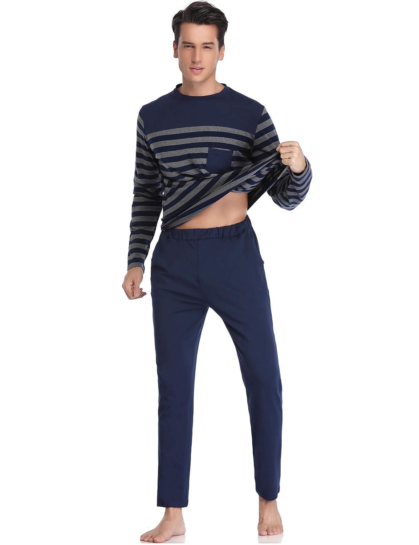 Aibrou Cl/ásico Pijamas Hombre Invierno Algodon Mangas Pantalones Largos Set,Suave,C/ómodo y Agradable
