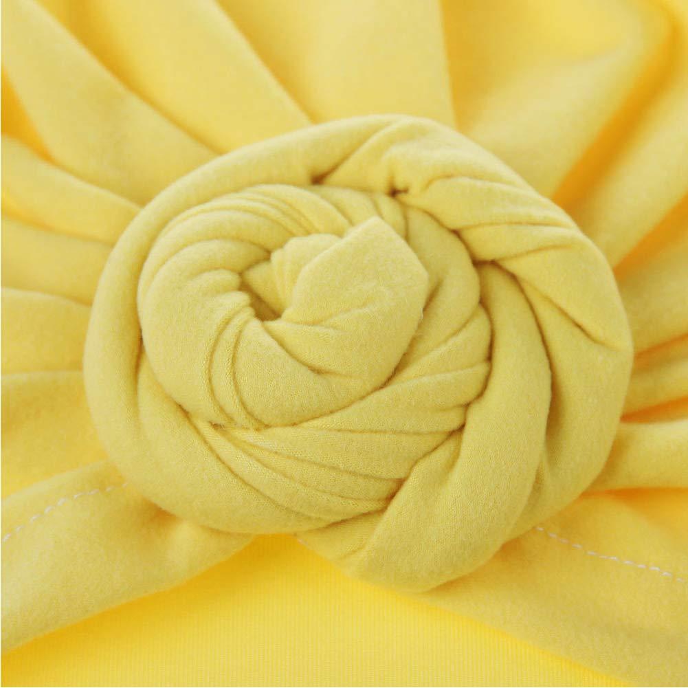 Cap Cabeza abrigo de la cabeza del beb/é sombrero de algod/ón lindo Cap Turban lindo gorras Vintage suave Bun nudo infantil Beanie suave para Ni/ños Ni/ñas amarillo 1PC