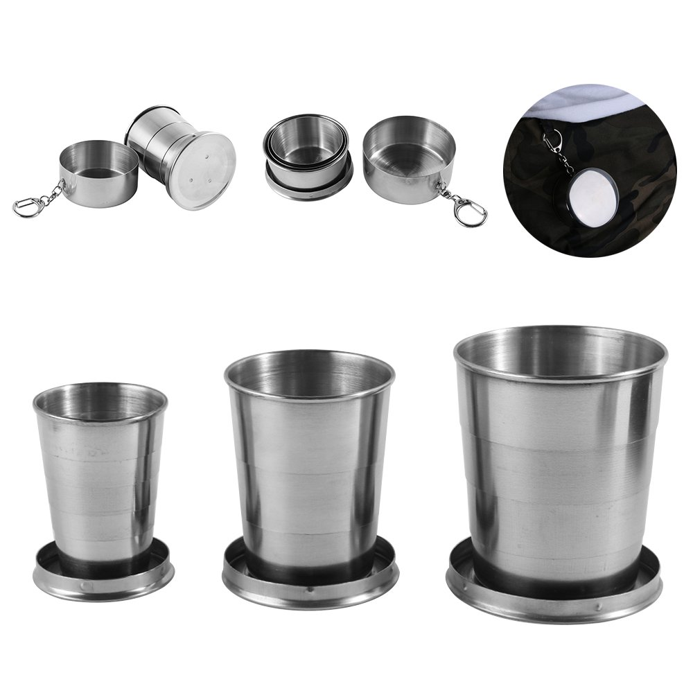 3 Pack Collapsible Cup Stainless Steel Portable Folding Metal Telescopic Keychain Cups Mug for Excursion Outdoor Travel Camping Picnic Hiking ...