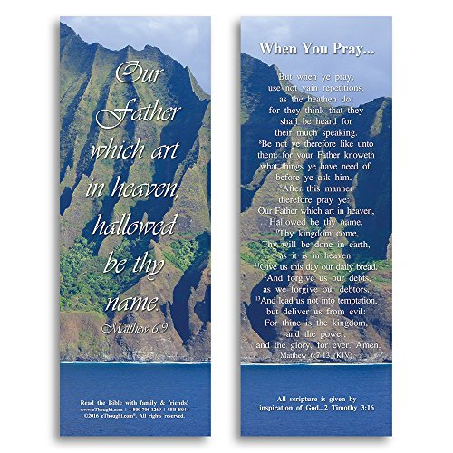 Bible Verse Cards, by eThought - Matthew 6:9 - When You Pray: The Lord's Prayer - Pack of 25 Bookmark Size Cards for reading, study, gifts and encouragement. -