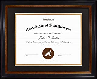 product image for flag connections 11x14 Frame for Diploma/Certificate, Sawtooth Hangers for Wall Mounting with Real Glass, Black Gold & Burgundy Molding