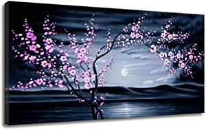 Canvas Wall Art for Living Room Bedroom Decor Cherry Blossom Wall Art Sunset Ocean Beach Painting Purple Wall Decor Canvas Prints Inspirational Artwork Modern Framed Wall Art for Teen Girl Room Decor