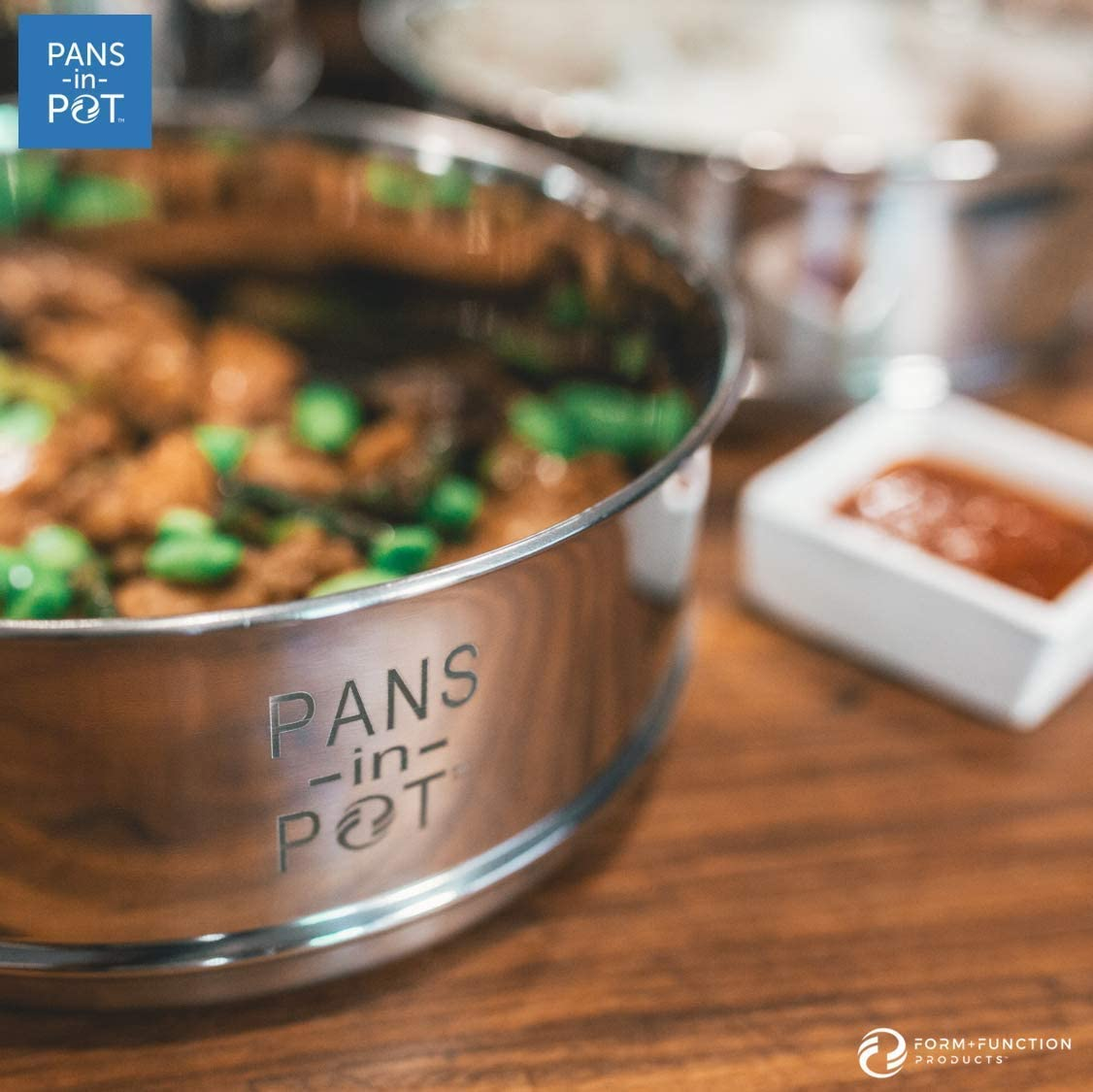 8QT Stainless Steel Stackable Steamer Insert Pans with MAX FILL LINE Indicators for Instant Pot 8 QT