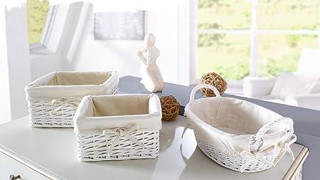 Frank Flechtwaren Bread Basket Oval White
