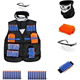 4inLoveMe Breathable Tactical Vest Kit for Nerf N-Strike Elite Tactical Vest Kit (1 x Tactical Vest, 1 x Six Dart Quick Reload Clip 20 Elite Darts 1 x safety goggles 1 x Hand Wrist Band 1 x Face Mask)