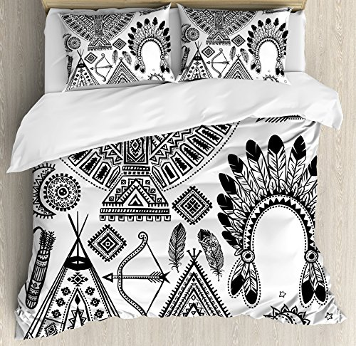 Ambesonne Tribal Duvet Cover Set King Size, Native American Feather Head Band Ethnic Teepee Tent Bow and Arrow Art Print, Decorative 3 Piece Bedding Set with 2 Pillow Shams, Black (Decorative Headband Fabric With Feather)