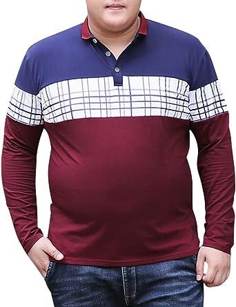 Camiseta Polo De Manga Larga Contraste De Color Camisa Tops Casual tee Shirt para Hombre Vino Rojo 5XL: Amazon.es: Ropa y accesorios