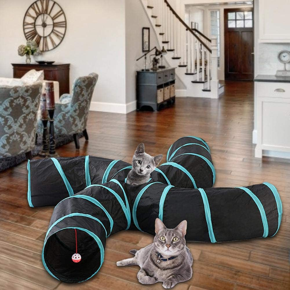 Pet Cat Toy  Collapsible Pet Tunnel S-Type Four-Channel Cat Tent Play Tunnel