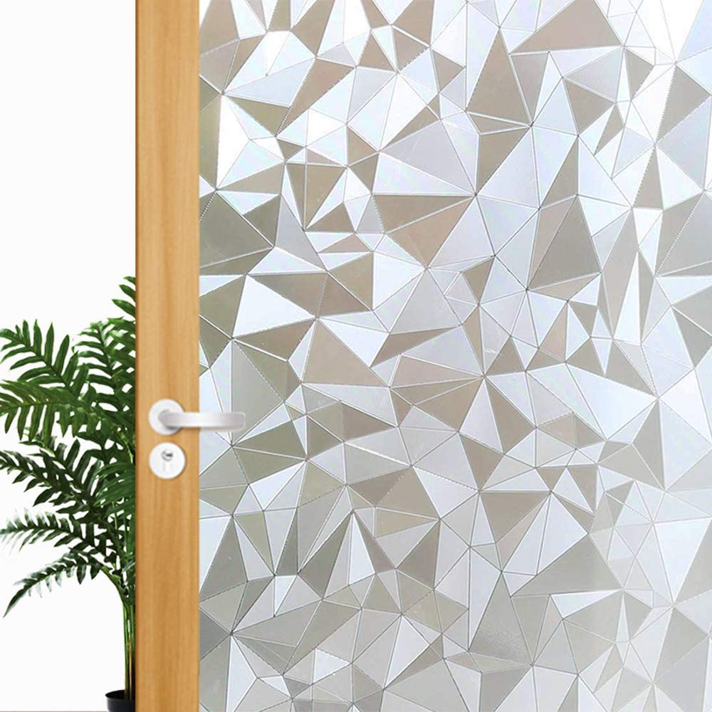 Decorative Privacy Window Film, 3D Window Tint Stained Glass Door Film Static Cling Reflective Window Decoration/Privacy Protection/Heat Control/Anti UV for Home/Office, 35.5x78.7 inch Gravel