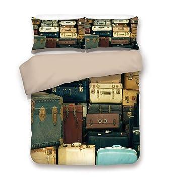 Juego de funda nórdica, Vintage, colorido maleta vintage, antiguo, cuero, decorativo