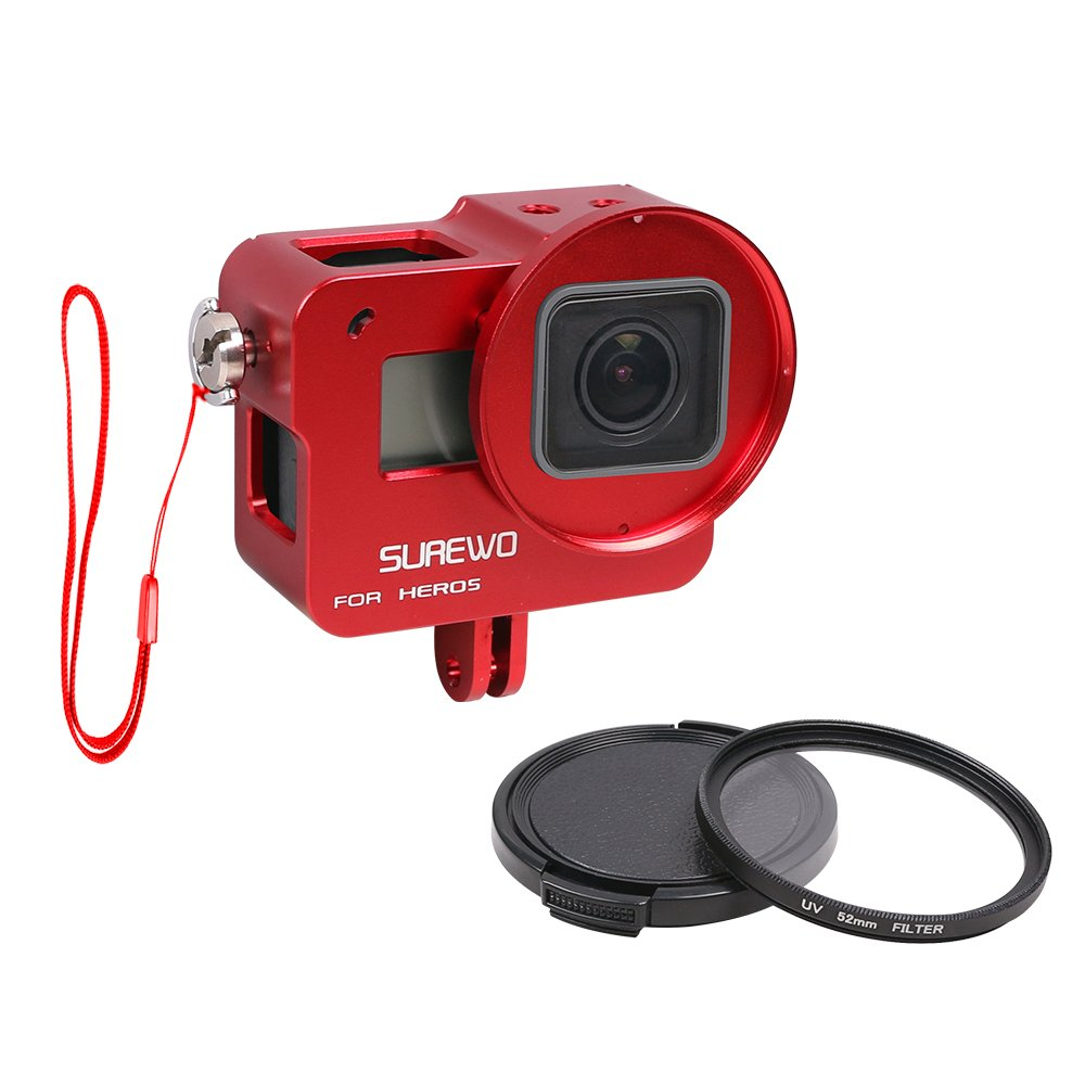 SUREWO CNC Aluminum Alloy Protective Housing Case Aluminium Frame Shell with 52mm UV Filter & Lens Cap and Hot Shoe Compatible Gopro Hero (2018) 6 5 Black (Red)
