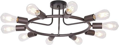 BONLICHT Modern 10-Light Sputnik Chandelier Oil-Rubbed Bronze Mid Century Semi Flush Mount Ceiling Light Retro Chandelier Lighting