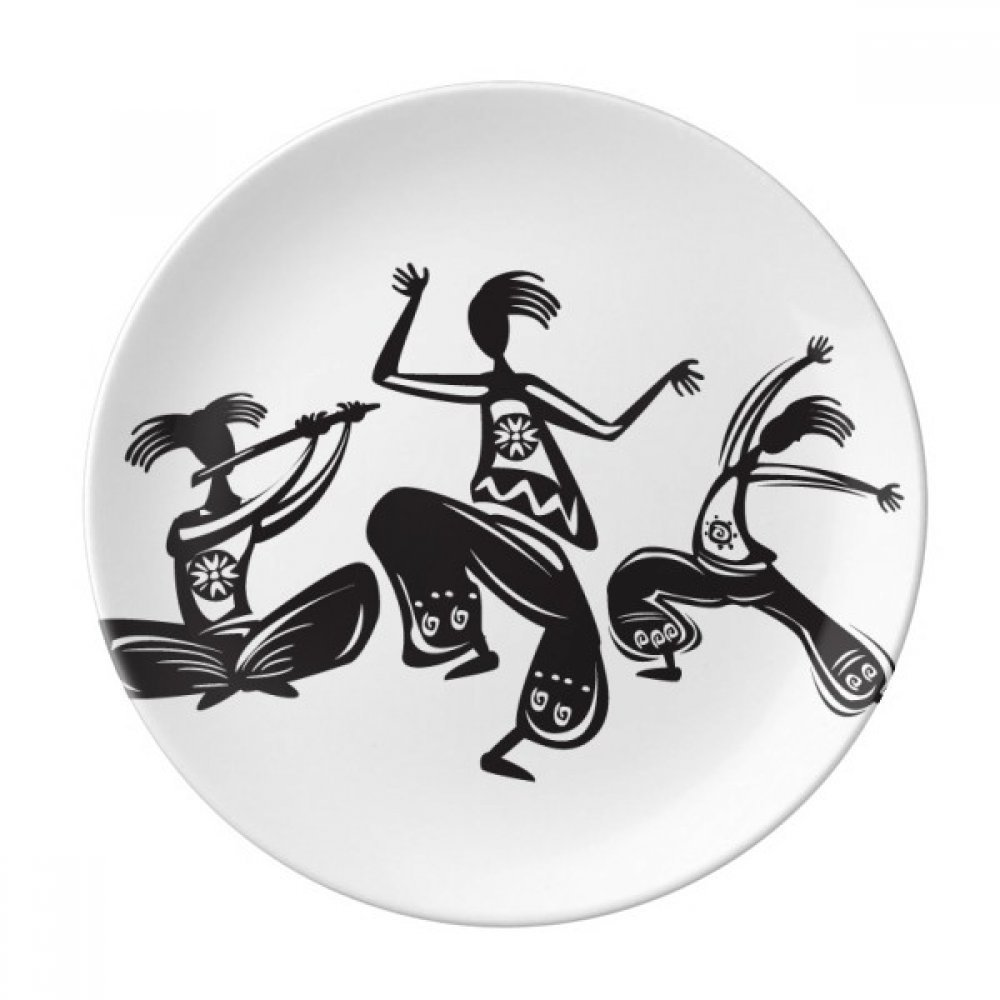 Dance People Mexico Totems Mexican Dessert Plate Decorative Porcelain 8 inch Dinner Home
