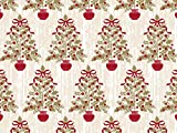 Pack Of 1, Holly Trees 24'' X 417' Roll Christmas Premium Gift Wrap Papers For 175 -200 Gifts Made In USA
