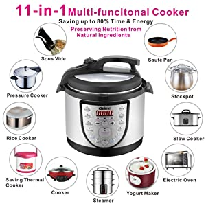 Electric Pressure Cooker 4Qt Slow Cook Programmable 18 Kinds of Cooking Option with Stainless Steel Inner Pot,Sous Vide,Rice Cooker,Egg Cooker,Hot Pot,Baking,Cake,Steamer,Yogurt,Scouring Pad,24-Hour