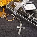 50 Metal Cross Key Chain With Beaded Design