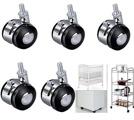 5pcs Ruedas Giratorias, resistente giratorio de goma ruedas muebles pesados carrito Ruedas, Ruedas de la Rotación ...