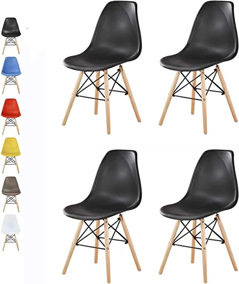 Black LIA by Mcc/® Set of 2 Modern Design Dining Chairs Retro Lounge Chairs