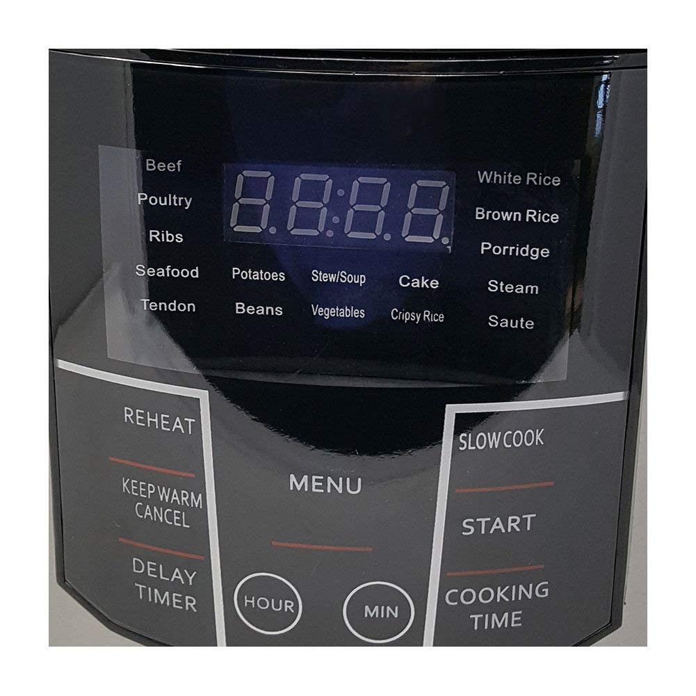 Multipot Electric Digital 6 Qt Multi Programmable Pressure Slow Cooker with Nonstick Insert Pot and Trivet - Delay Timer Warmer Steamer Rice Cooker Saute Pressure cook saute rice yogurt steam -One Touch LED