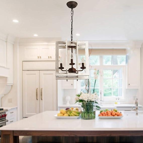 4-Light Farmhouse Distressed White Wood Chandelier Modern Kitchen Island Pendant Wooden Chandelier