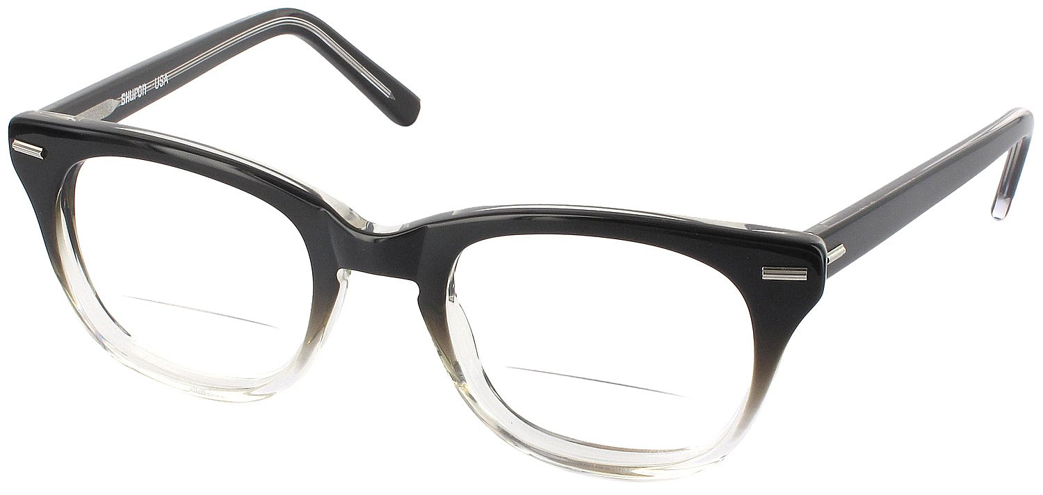 Shuron Freeway 52 (Men's Average Fit) Bifocal Designer Reading Glasses, Black Fade, +2.00