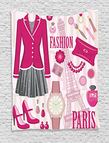 Girly Decor Tapestry  Fashion Theme in Paris with Outfits Dress Watch