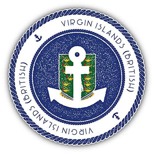 (KW Vinyl British Virgin Islands Nautical Rubber Stamp Travel Bumper Sticker)