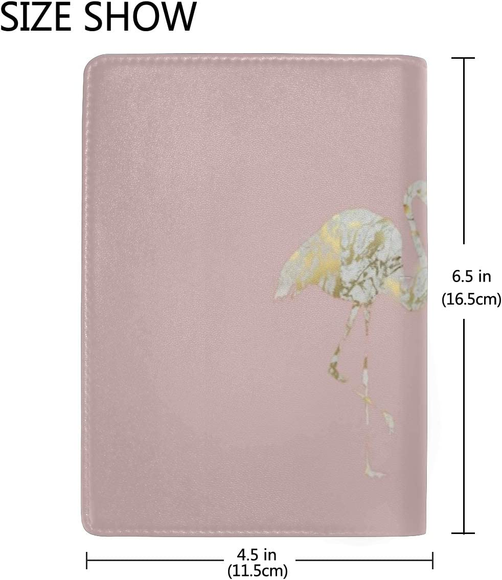 Marble Flamingo Pink Leather Passport Holder Cover Case Blocking Travel Wallet