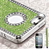 Pandamimi Deluxe Light Green Diamond Rhinestone Glitter Bling Chrome Hard Case Cover for Apple iPhone 5 5G + Screen Protector + Stylus