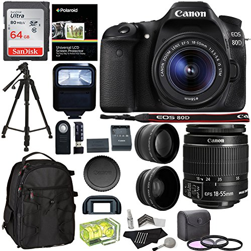 Cheap Canon EOS 80D Digital SLR Camera Kit EF-S 18-55mm Image Stabilization STM Lens + Polaroid .43x Super Wide Angle & 2.2X HD Telephoto Lens + 64GB Memory Card + Flash + Filters + Accessory Bundle