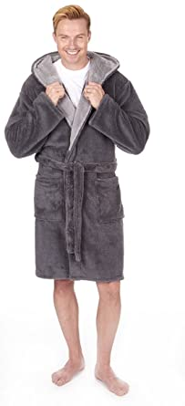 Mens Luxury Snuggle Fleece Hooded Dressing Gown Sizes M 2xl Thick