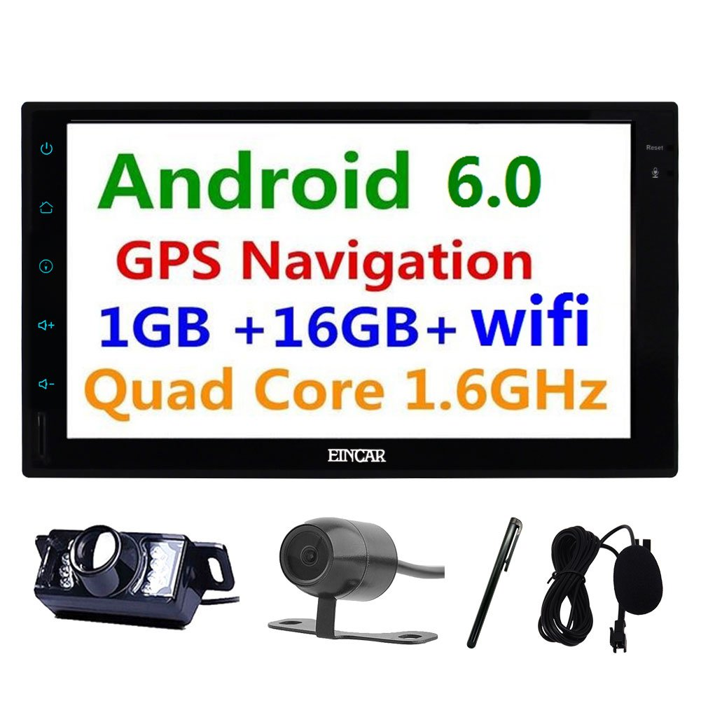 Front/Backup Cam are included!!! Eincar 7 Inch 2 Din Head Unit Android 6.0 Marshamallow Quad Core RAM 1G ROM 16G GPS Navigation Car Stereo Audio Radio 1080P Video Player Mirror Link WiFi Bluetooth AM/FM/RDS Steering Wheel Control B06Y5P2N18 Newest version Newest version