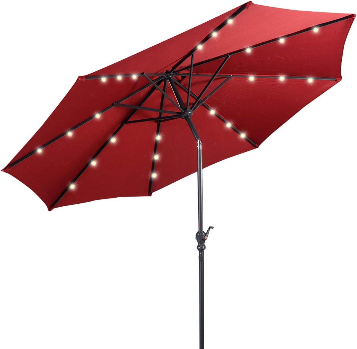 Giantex 10ft Solar Patio Umbrella Outdoor