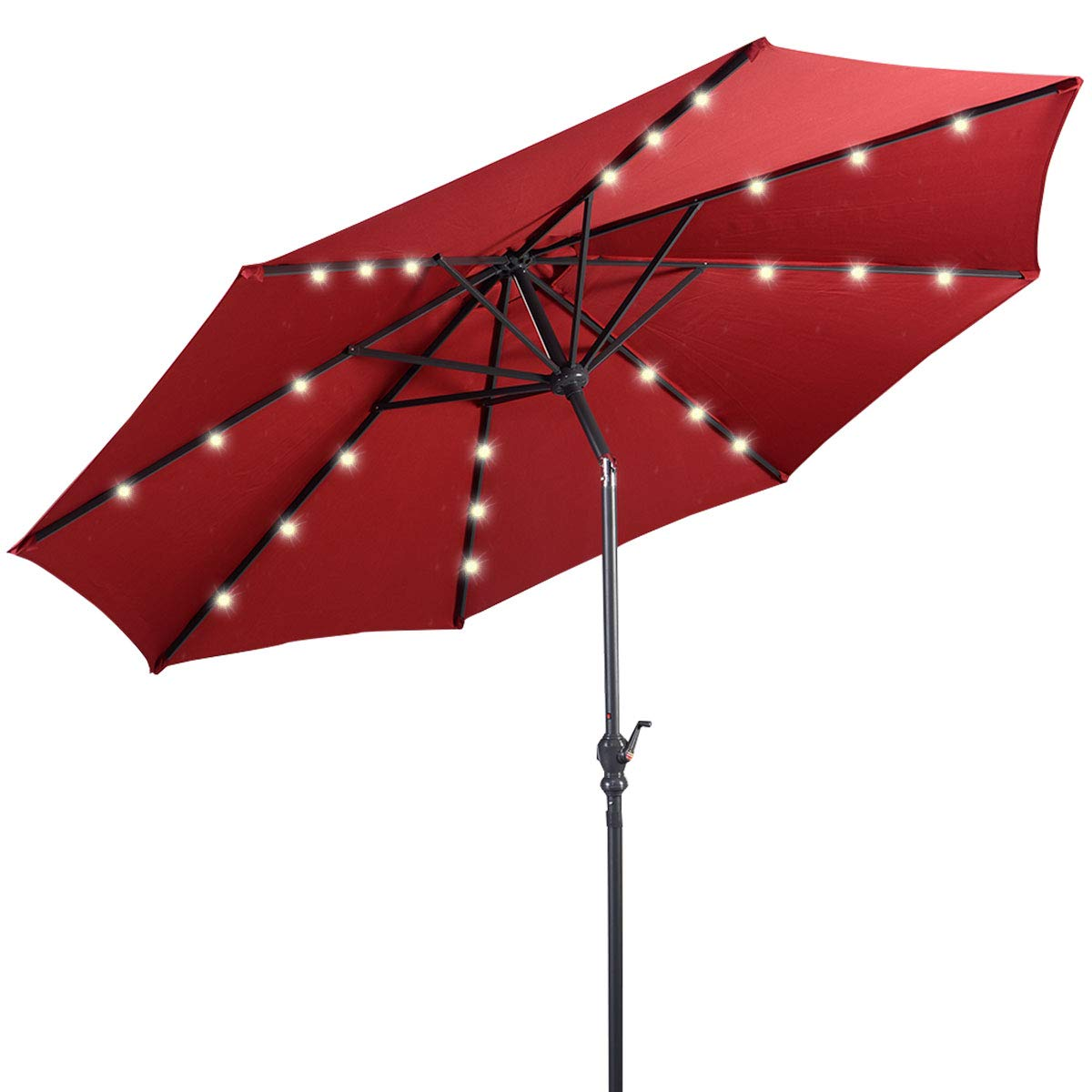 Giantex 10ft Solar Patio Umbrella Sunbrella with LED Lighted, 8 Ribs Market Steel Tilt w/Crank for Garden, Deck, Backyard, Pool Indoor Outdoor Use, Burgundy