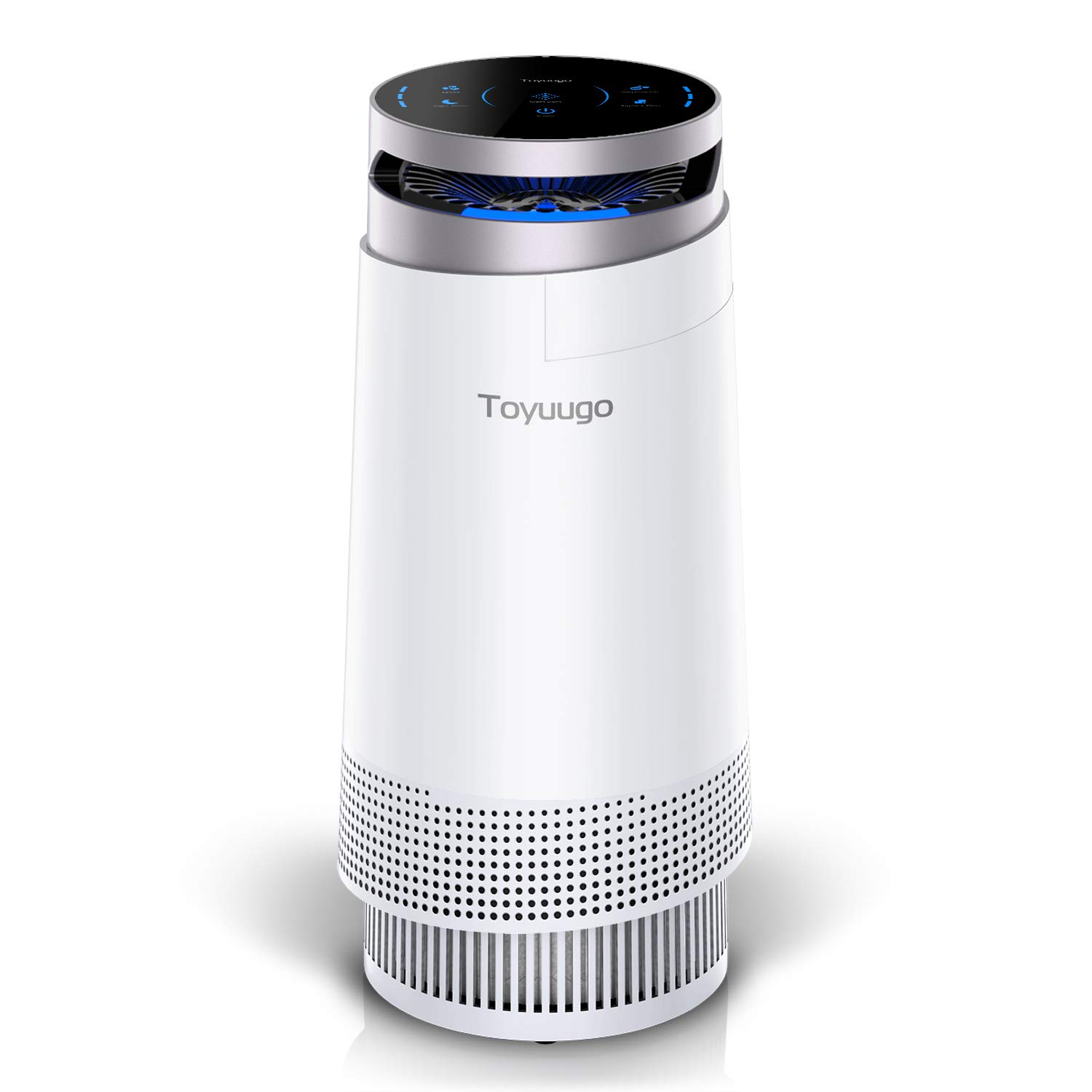 toyuugo Air Purifier, True HEPA Air Cleaner with Active Carbon Filter,  Negative Ion Purifiers Filtration with Night Light, No Ozone, PM Eliminator