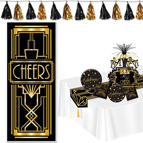 Lets Celebrate! Party Supplies and Party Decorations Bundle for Birthday, Graduation, Halloween- 1 Table Runner, 1 Centerpiece, 1 Door Cover, 16 Plates, 32 Napkins, 1 Metallic Tassel Garland ()