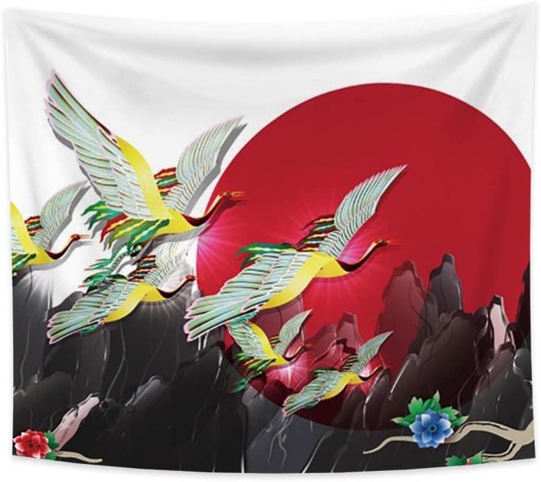 Renaiss 70.9x63.0 Inches Japanese Ukiyo-e Tapestry Red Sun Cranes Mountains Flower Shadow Tapestry Vintage Mythical Art Printing for Living Room Bedroom Dormitory Home Decor Hotel