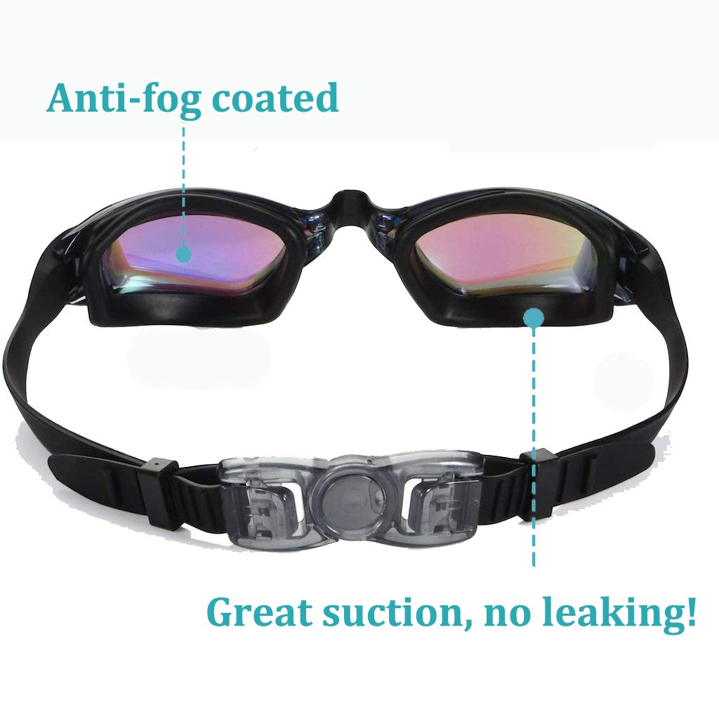 Bambini Anti-Appannamento Specchio Occhiali da Nuoto Agonistico Protezione UV Impermeabile Anti-Perdita Confortevole Regolare Professionaleper Adulti UBLA Occhialini da Nuoto