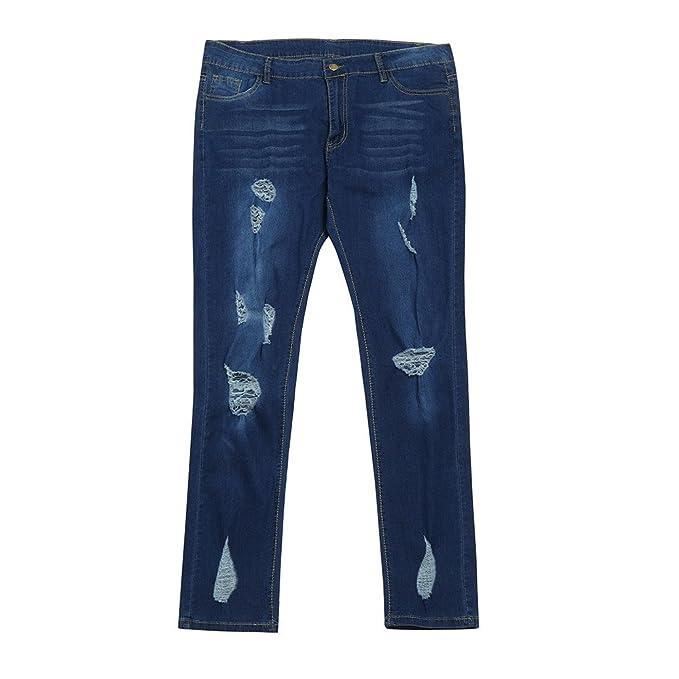 NPRADLA Vaqueros Jeans Tendencia Pantalones de Cintura Alta ...