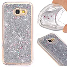 Galaxy A5 (2017) Case, Nicelin Creative Design Built-in Flowing Liquid and Floating Luxury Bling Glitter TPU Soft Case for Samsung Galaxy A5 (2017) / SM-A520 Series (Silver)