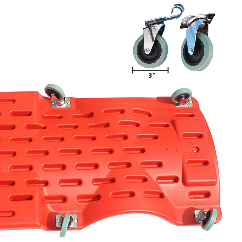 GOGOLO Mechanic Plastic 40'' Car Creeper Board with Led Light, Car Workshop Crawler Board Ergonomic Body & Padded Headrest & Dual Tool Trays, 200kg Capacity, Red by GOGOLO (Image #4)