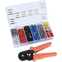 ValueHall Krimptang Set Adereindhulstang Met 1200 Stuks 0,5–6 mm2 Kabelschoenen en Kabelschoentang 0,25 – 6 mm2 voor…