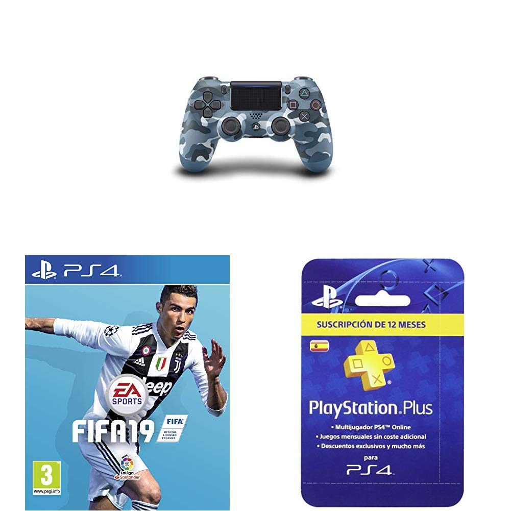 Dualshock 4 Cont Blue Camouflage + FIFA 19 Edición Estándar ...