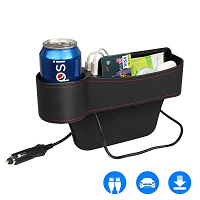 Car Seat Pockets PU Leather Car Console Side Organizer Seat Gap Filler with Big Cup Holder, 2 USB Chargers, for Driver Side: Automotive