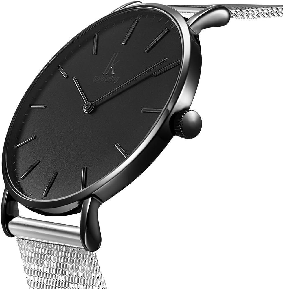 Alienwork IK Reloj Unisex Relojes Hombre Mujer Acero Inoxidable ...