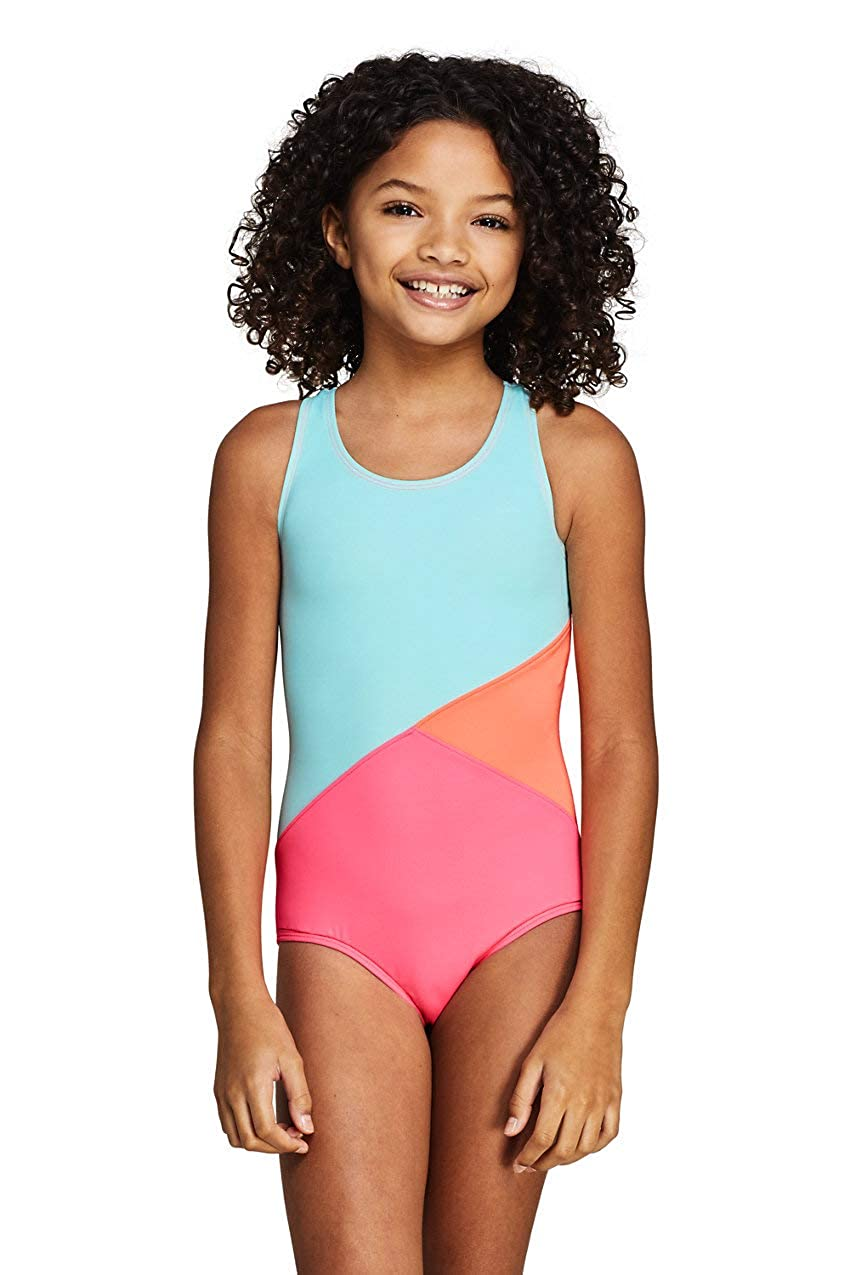 Lands End Girls Plus Colorblock One Piece Suit