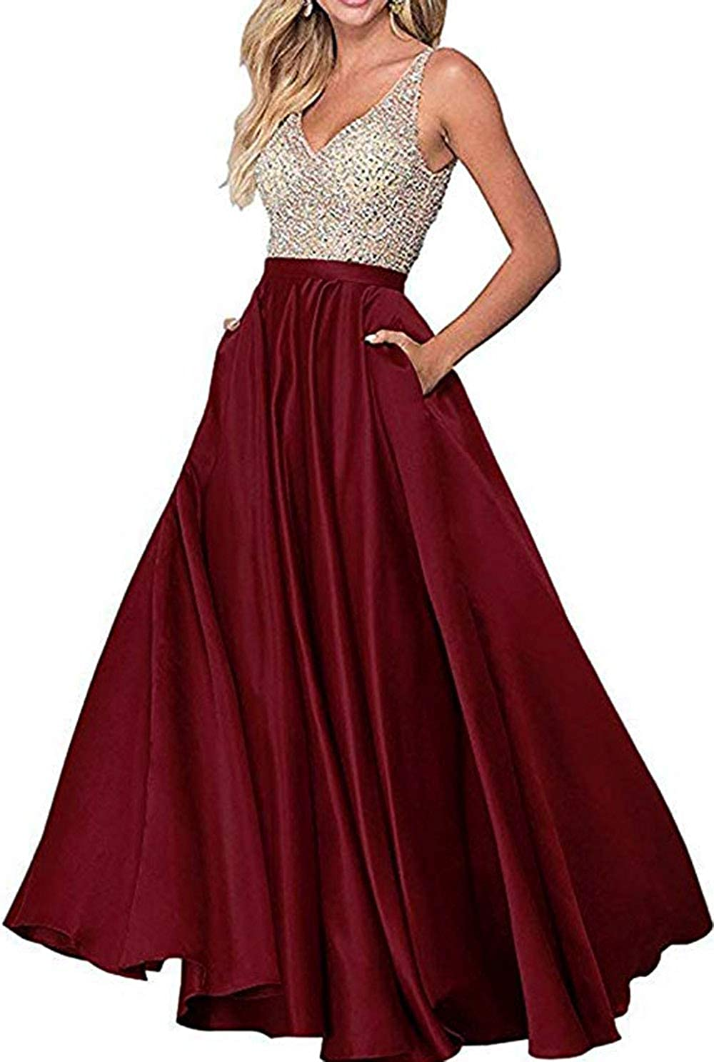 Burgundy Rmaytiked Womens VNeck Beaded Bodice Long Prom Dresses A Line Satin Formal Evening Ball Gowns with Pockets 2019 New
