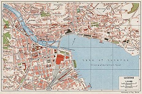 Amazoncom LUCERNE LUZERN Vintage town city map plan Switzerland